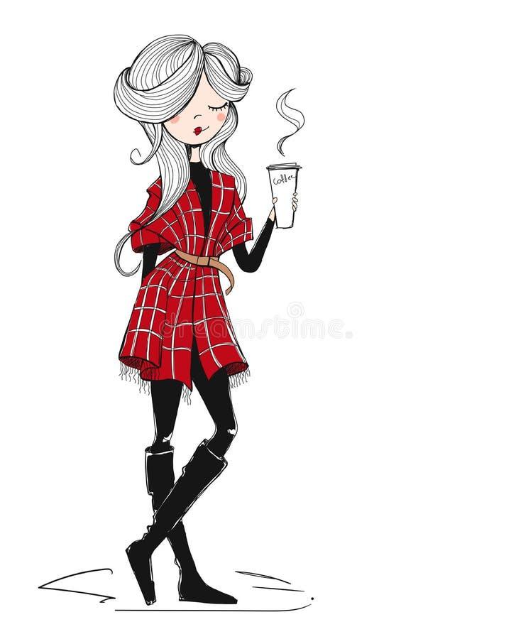 Menina com café ilustração royalty free