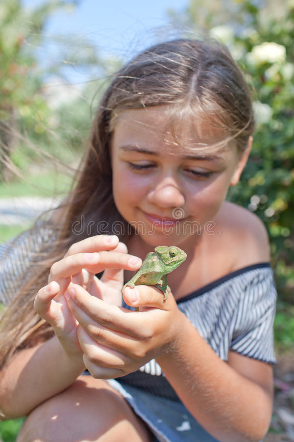 Menina com camaleão fotos de stock