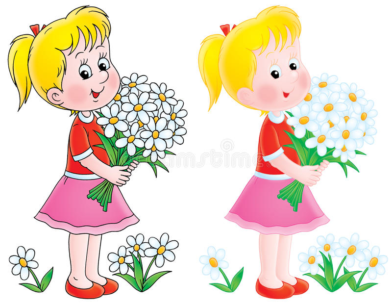 Menina com camomilas ilustração royalty free