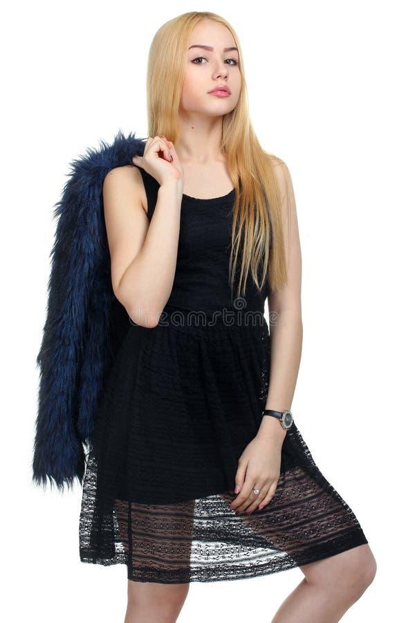 Menina com casaco de pele fotografia de stock royalty free