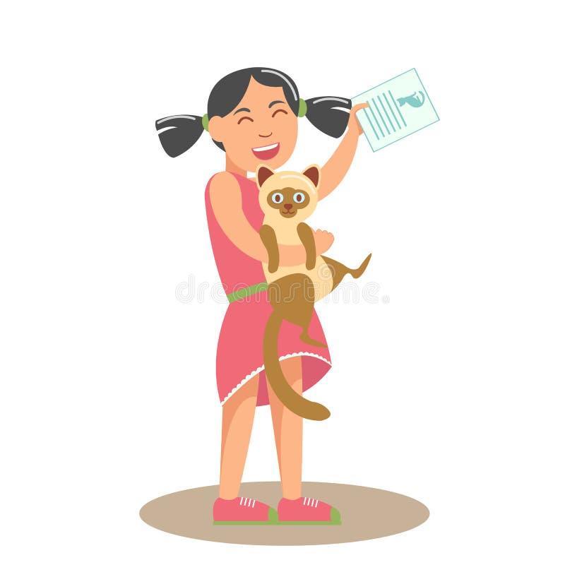 Menina com Cat Flat Vetora Illustration ilustração do vetor