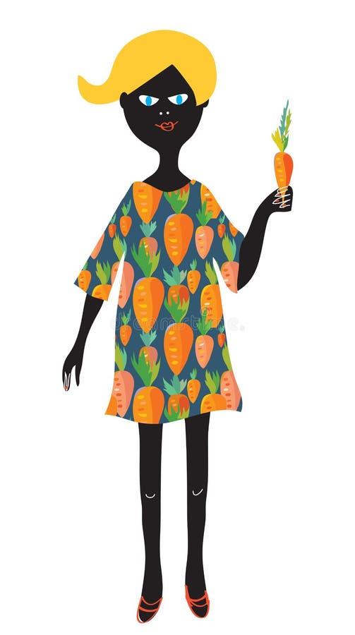 Menina com cenoura - conceito do vegetariano bonito ilustração do vetor