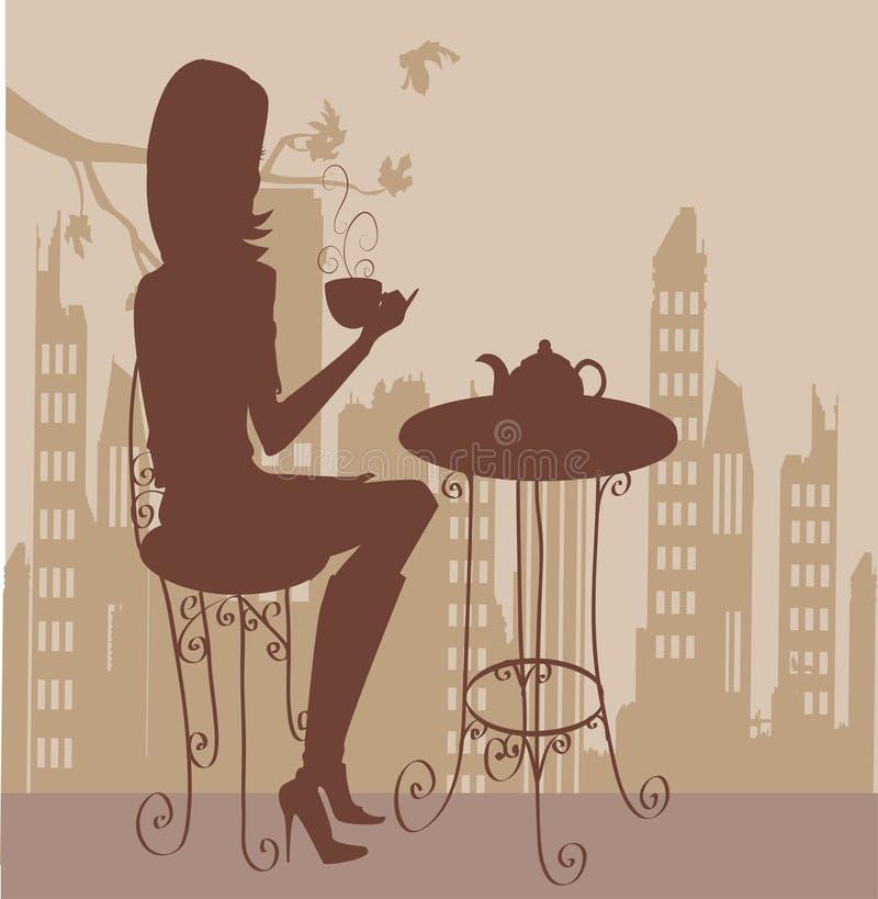 Menina com chávena de café ilustração stock