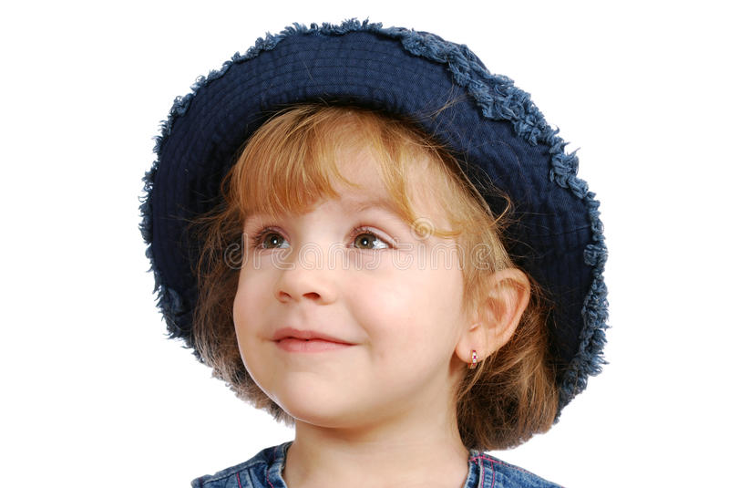 Menina com chapéu de calças de ganga imagem de stock