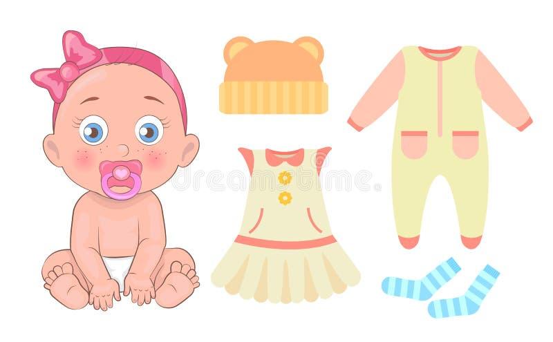 Menina com cobertor, ilustração do vetor da roupa ilustração do vetor
