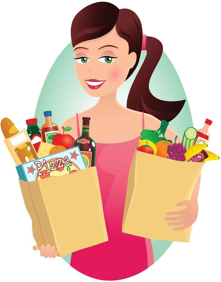 Menina com compras na mercearia ilustração royalty free