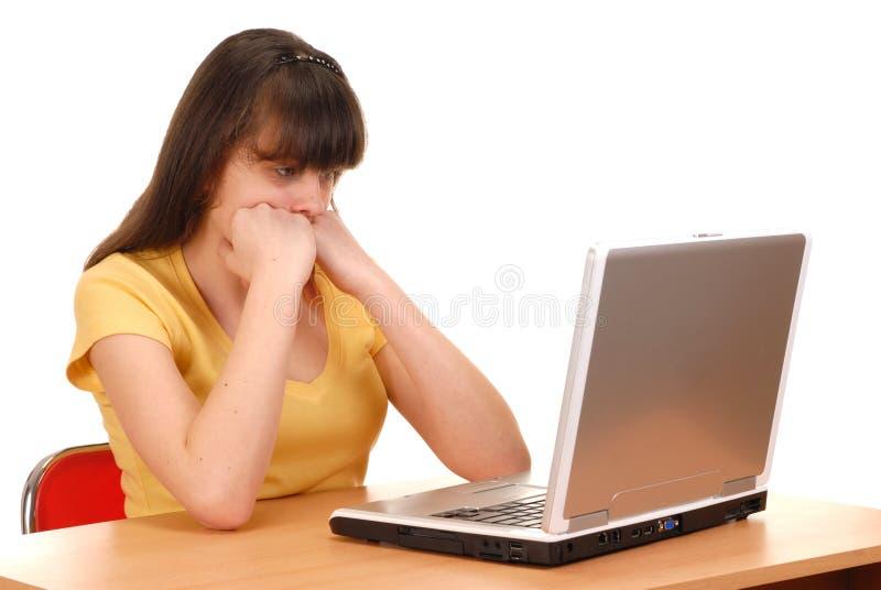Menina com computador fotos de stock royalty free
