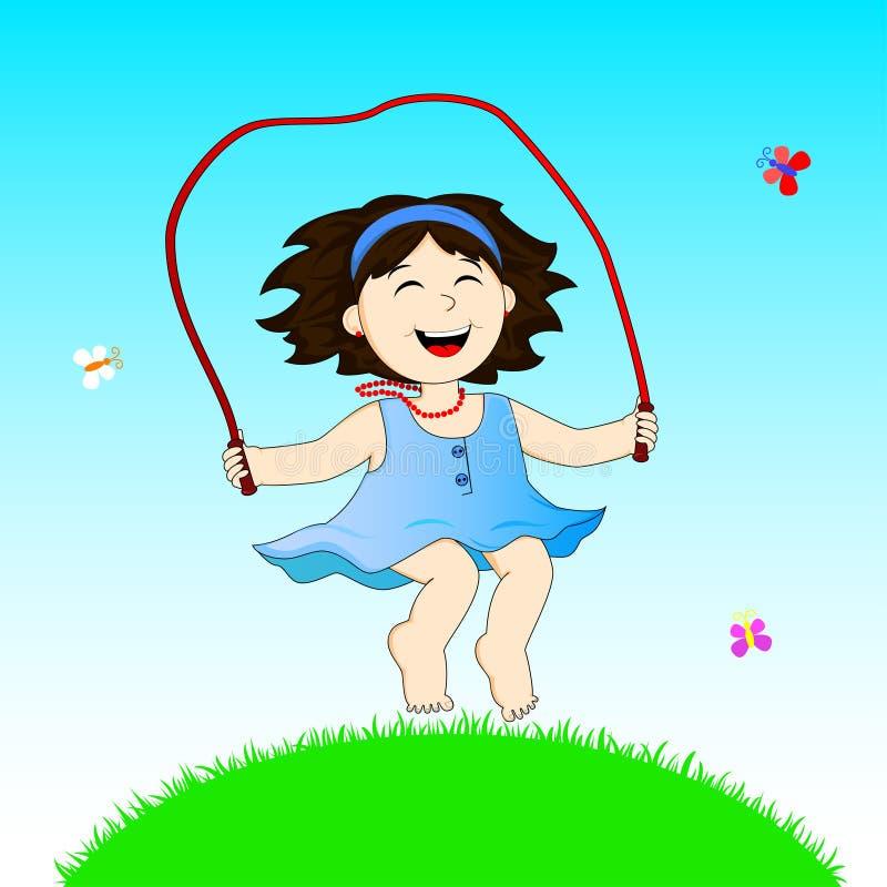 Menina com corda de salto ilustração do vetor