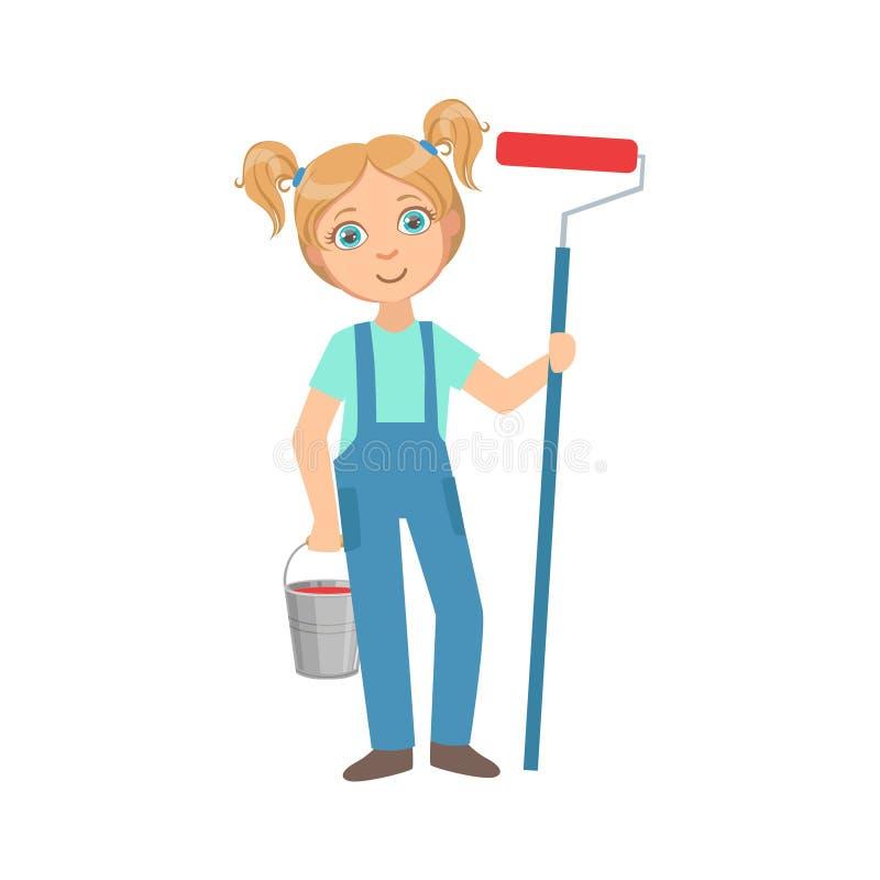 Menina com a cubeta do metal e o rolo da pintura, criança vestida como a profissão ideal futura do local de On The Construction d ilustração stock