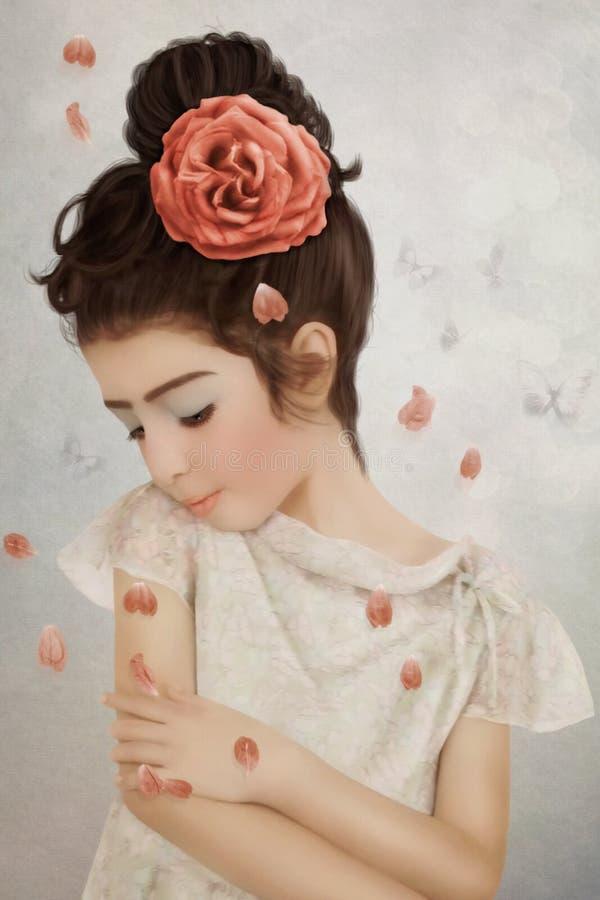 Menina com da flor no cabelo imagens de stock