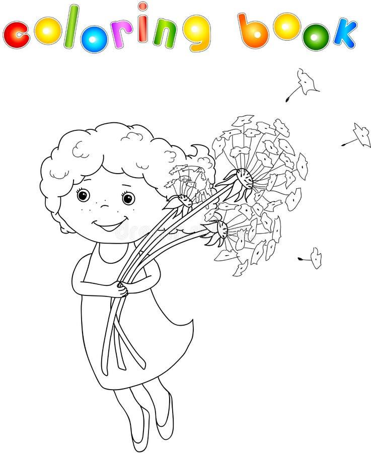 Menina com dente-de-leão ilustração royalty free