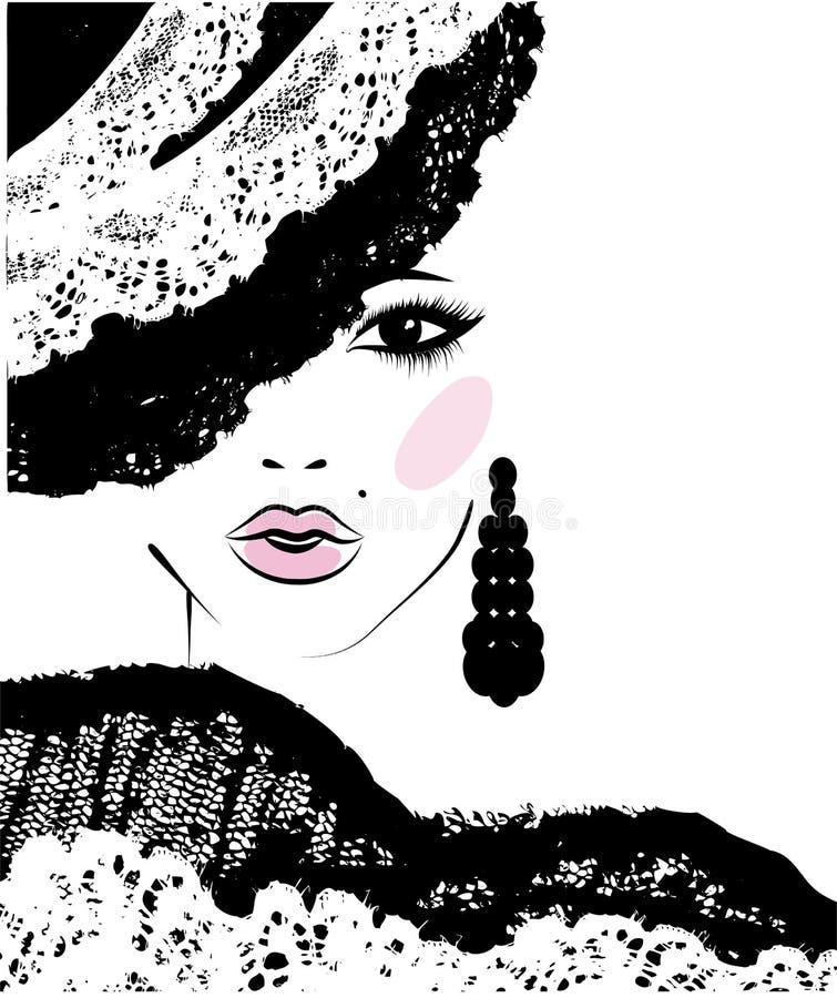Menina com dentro um chapéu do laço, ilustração da forma ilustração royalty free