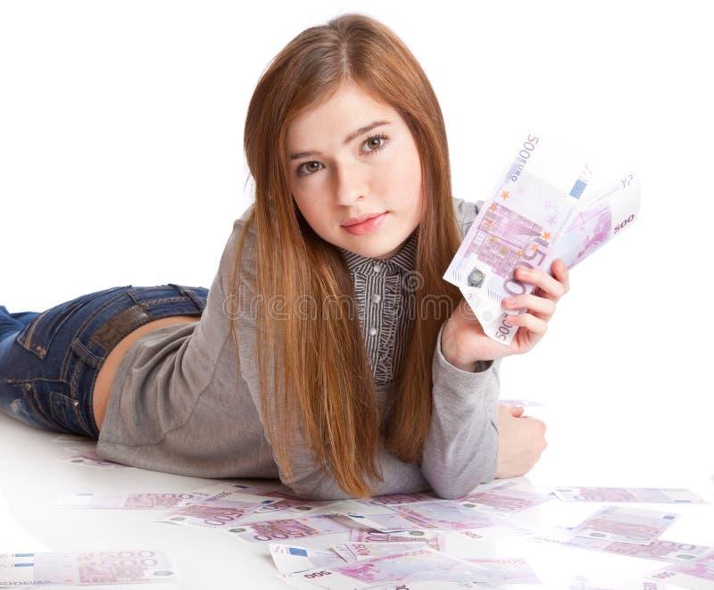 Menina com dinheiro foto de stock royalty free