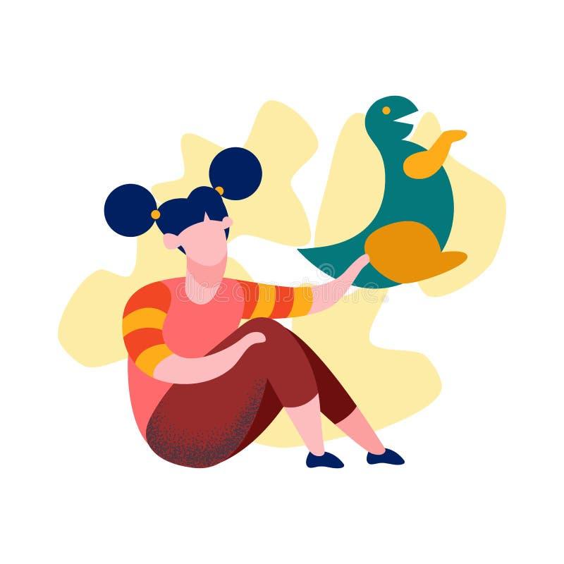 Menina com dinossauro Toy Cartoon Vetora Illustration ilustração stock