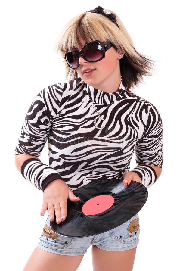 Menina com disco do vinil fotografia de stock royalty free