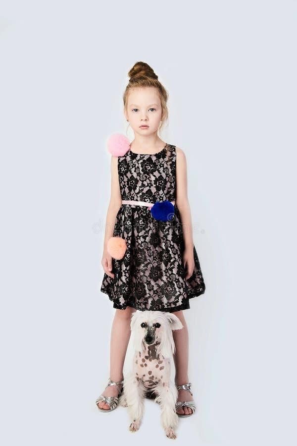 Menina com doggy foto de stock royalty free