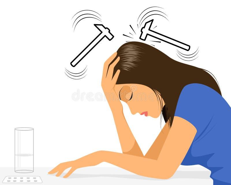 Menina com dor de cabeça ilustração stock