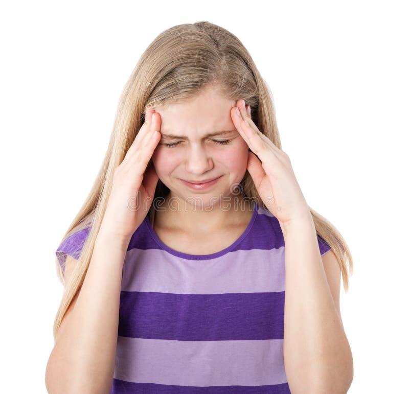 Menina com dor de cabeça imagens de stock