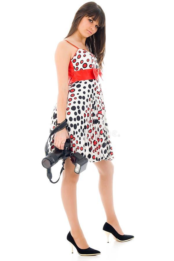 Menina com DSLR imagens de stock royalty free