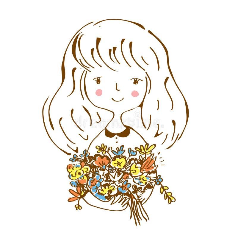 Menina com esboço das flores para o cartão ilustração do vetor