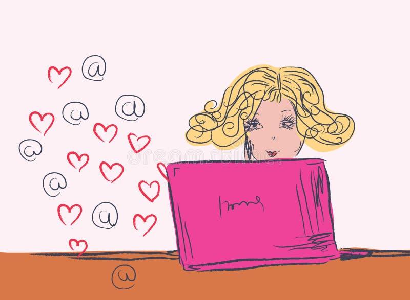 Menina com esboço do portátil ilustração do vetor