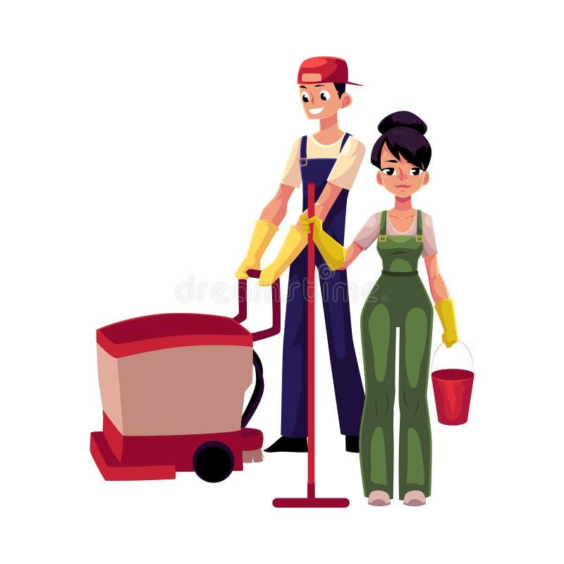 Menina com espanador e cubeta, homem que usa a máquina da limpeza do assoalho ilustração stock