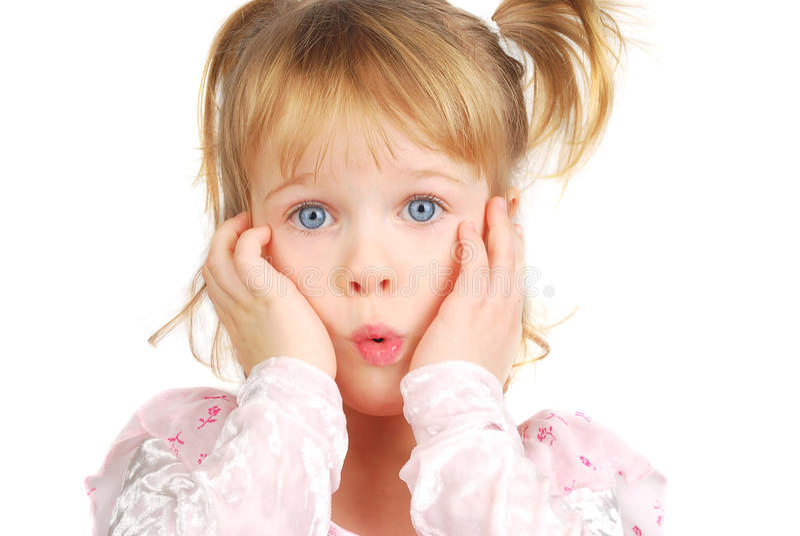 Menina com face engraçada. imagens de stock