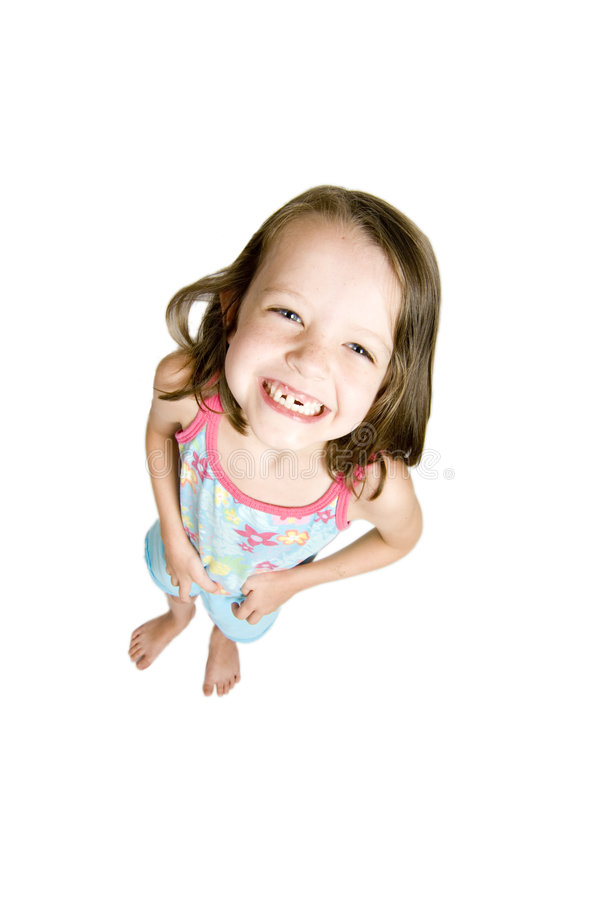 Menina com falta dos dentes foto de stock