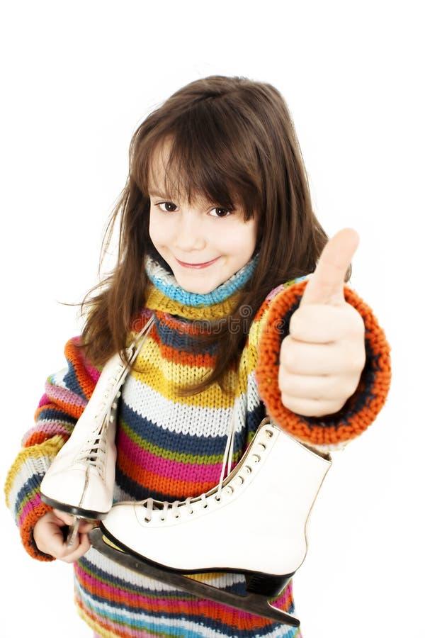 Menina com figura patins fotos de stock royalty free