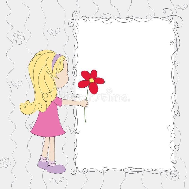 Menina com a flor no cartão em branco ilustração stock