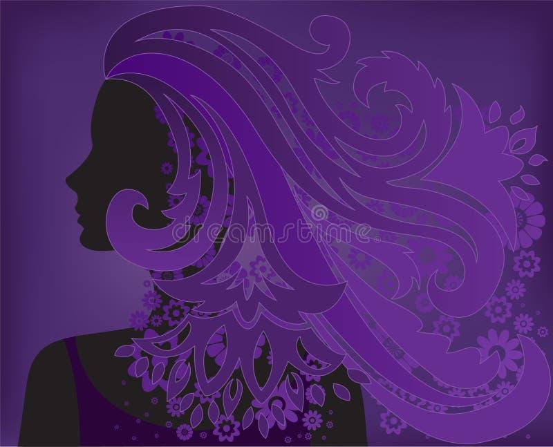 Menina com a flor roxa do cabelo ilustração stock