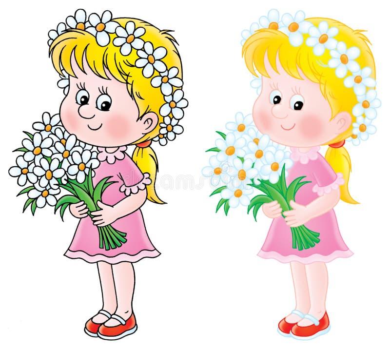 Menina com flores ilustração royalty free