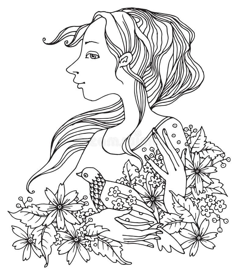 Menina com flores e pássaro ilustração stock