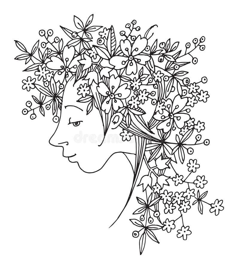 Menina com flores em um cabelo ilustração stock