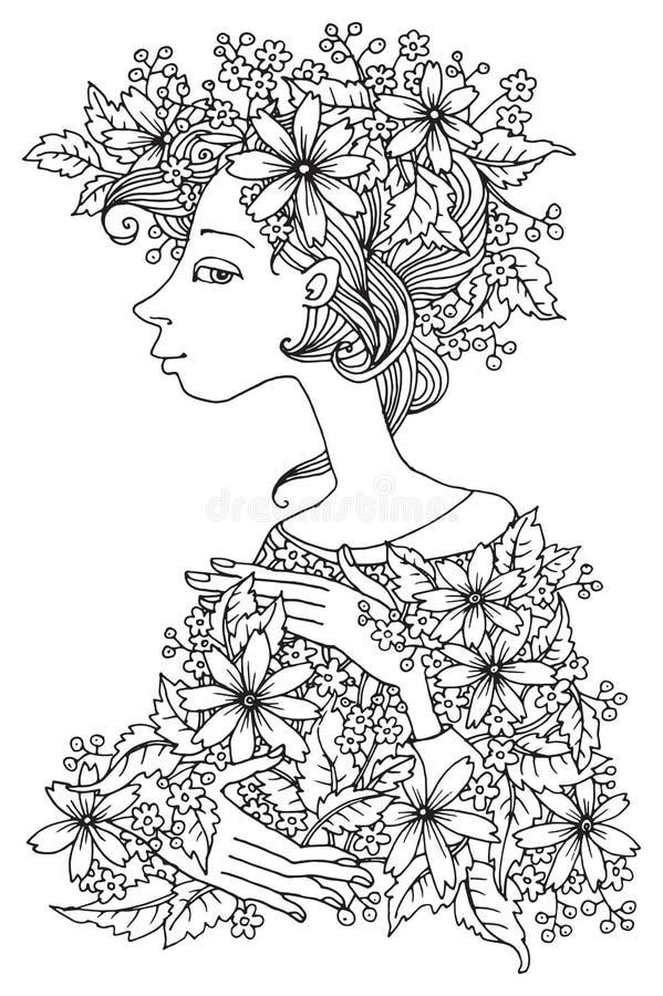 Menina com flores, ilustração desenhado à mão ilustração stock