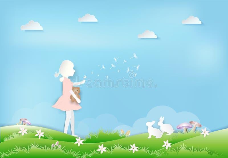 Menina com flutuação da flor do dente-de-leão e estilo de papel da arte do coelho ilustração royalty free