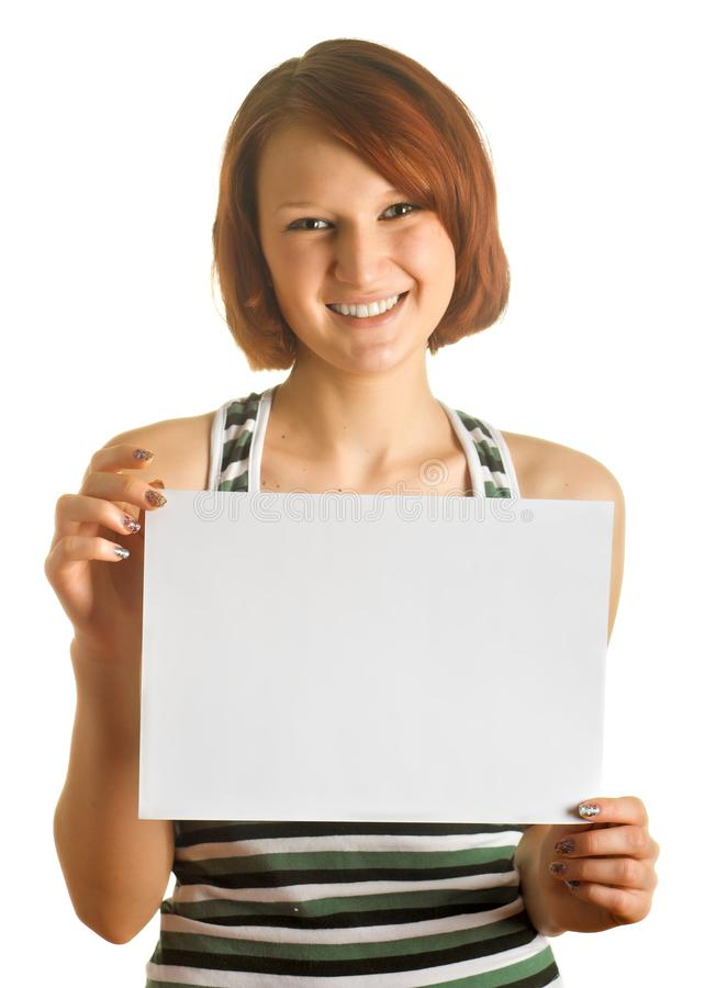 Menina com folha de papel fotografia de stock royalty free