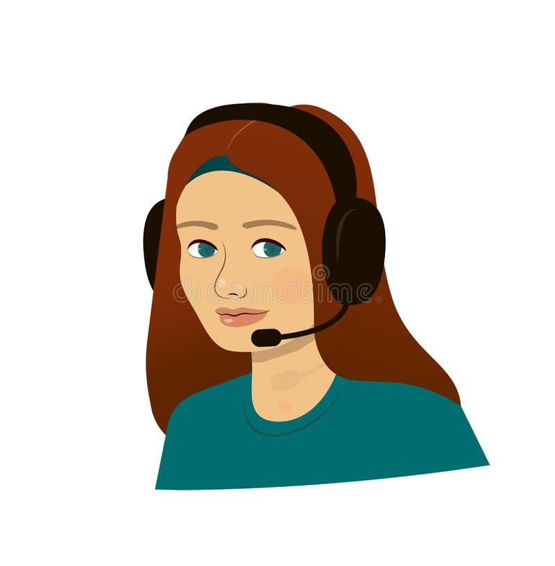 Menina com fones de ouvido - centro de atendimento do apoio ilustração royalty free