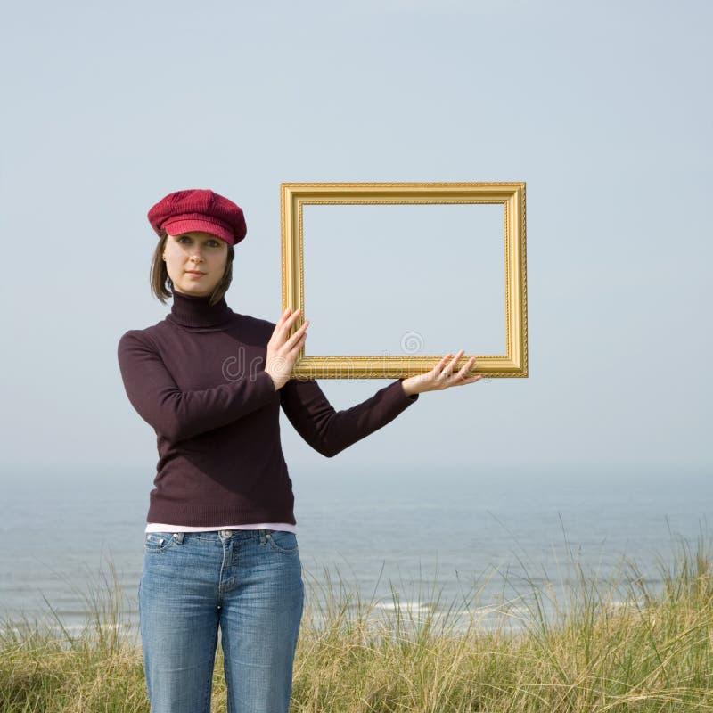 Menina com frame foto de stock royalty free