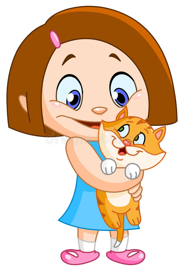 Menina com gatinho ilustração do vetor