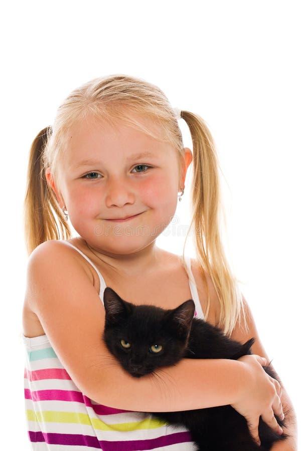 Menina com gatinho imagens de stock royalty free