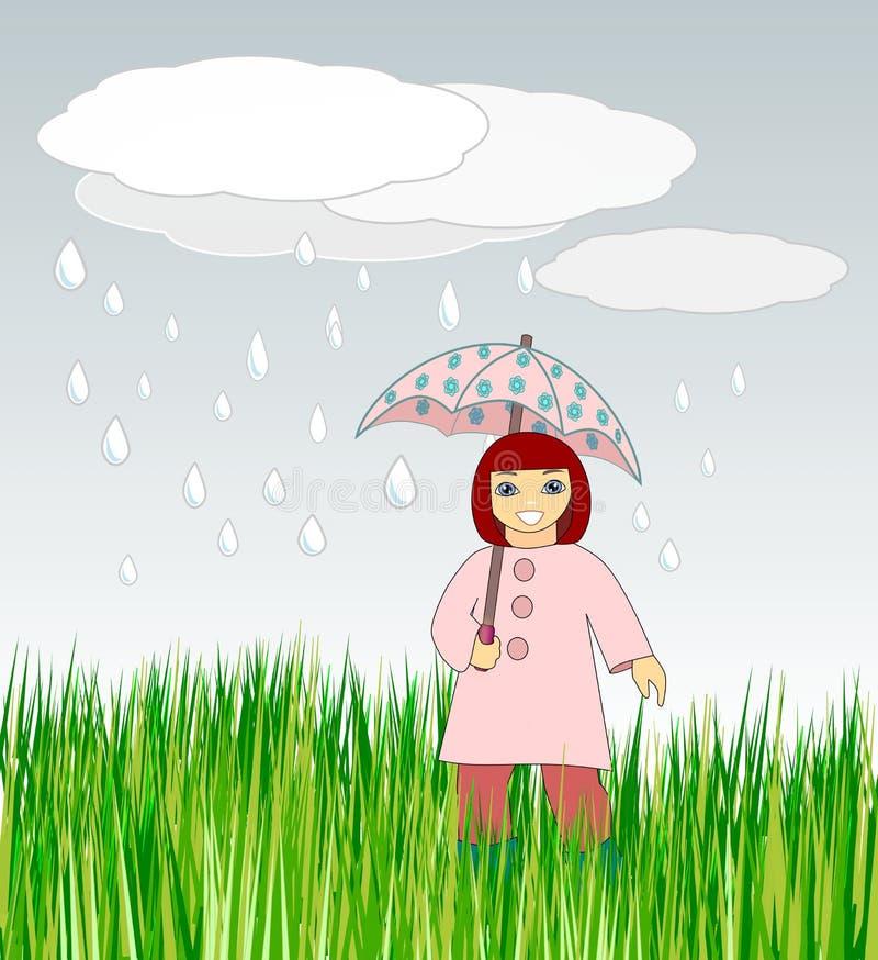 Menina com guarda-chuva ilustração stock