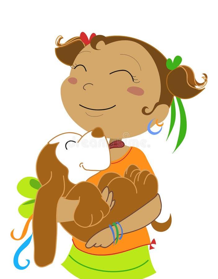 Menina com ilustração cão-vectorial
