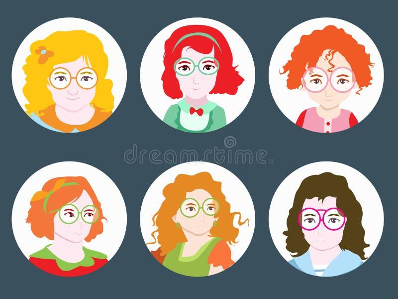 Menina com ilustração do vetor do cabelo ondulado e dos vidros ilustração stock