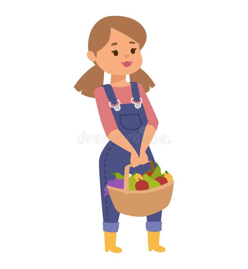 Menina com ilustração do vetor dos frutos ilustração do vetor