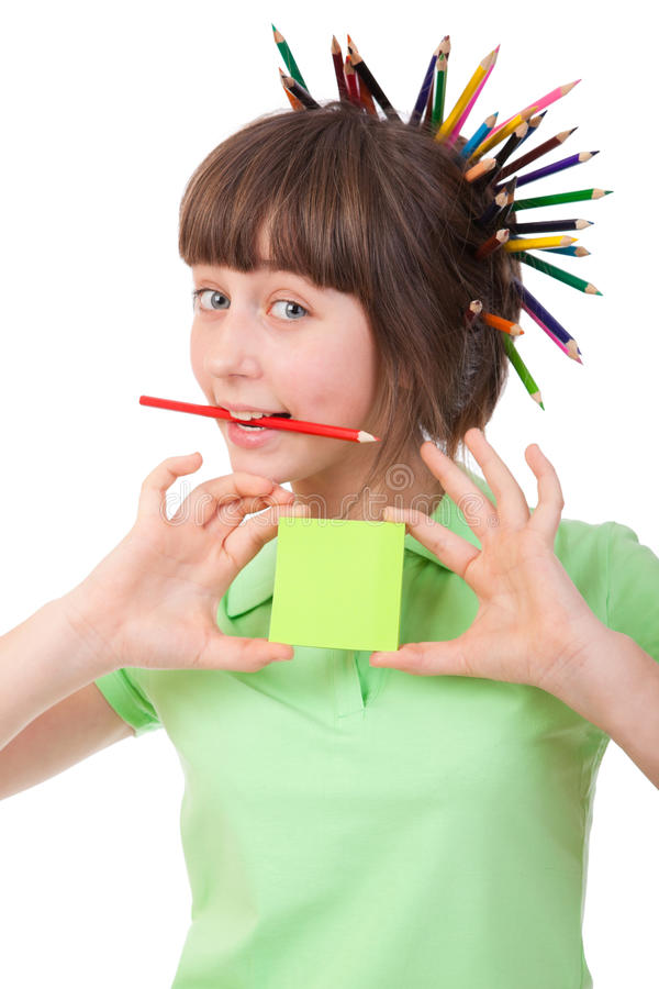 Menina com lápis fotografia de stock royalty free