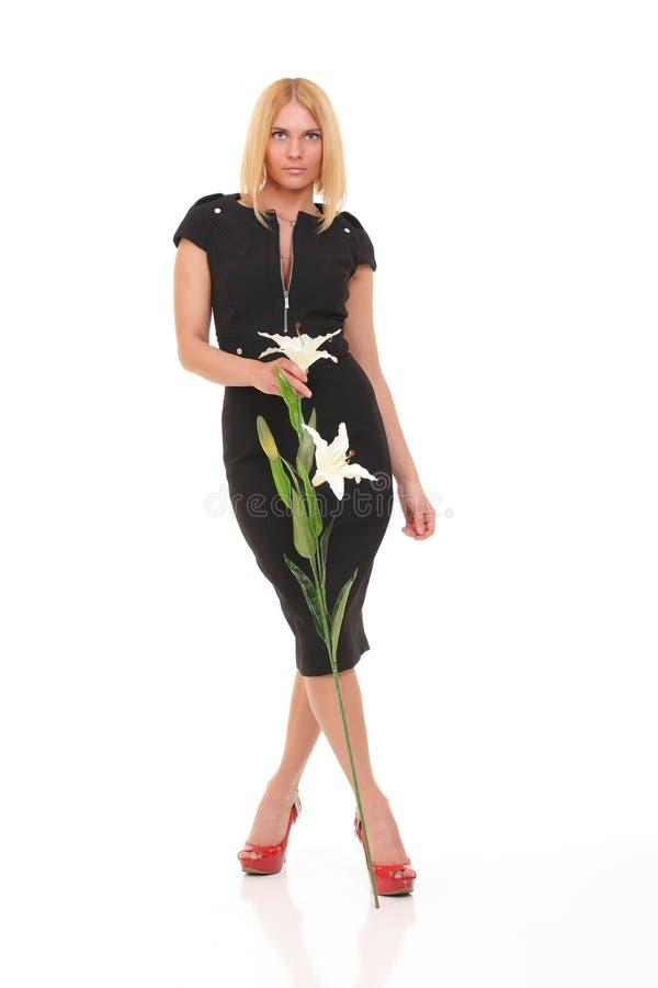 menina com lírio da flor foto de stock royalty free