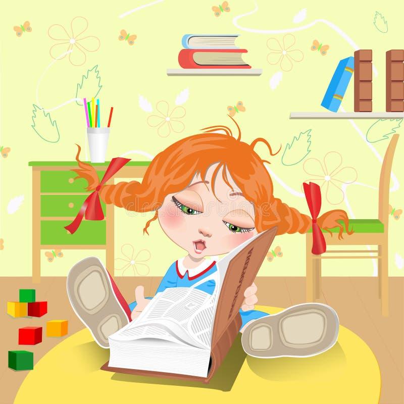 Menina com livro ilustração royalty free