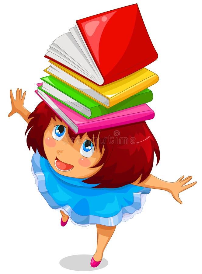 Menina com livros ilustração royalty free