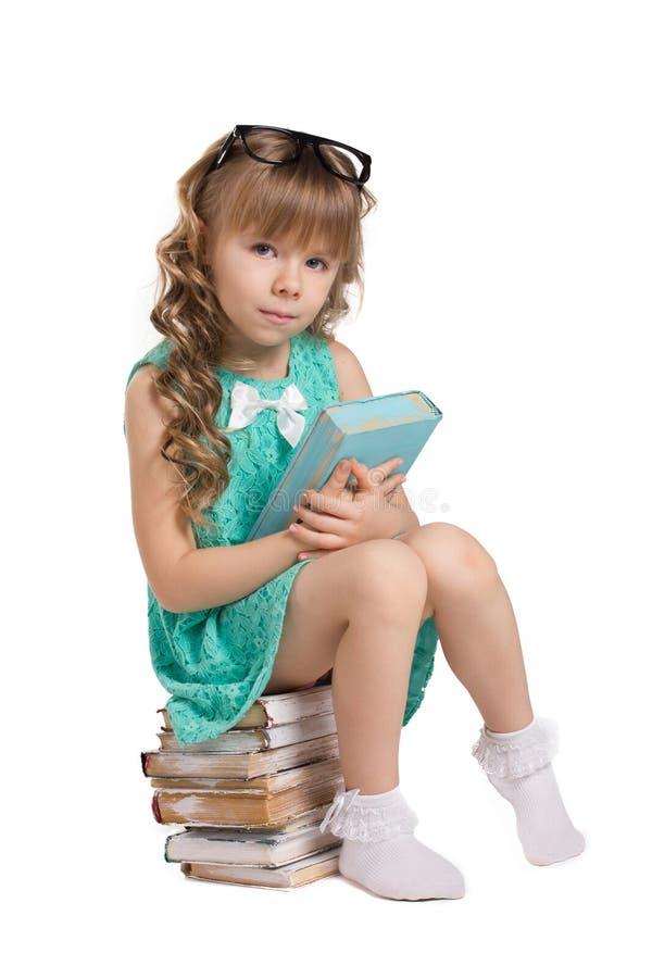 Menina com livros fotografia de stock royalty free